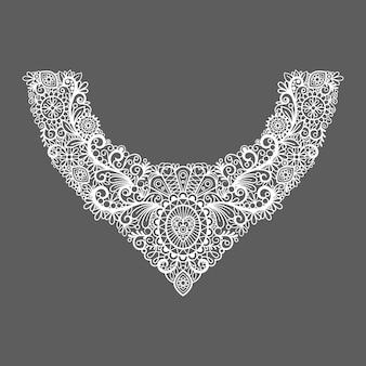 Цветочный дизайн с принтом на шее. модный белый кружевной воротник. иллюстрация