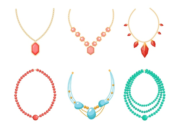 Necklace, beads jewelry isolated on white background