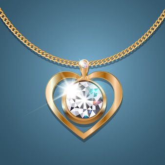 Necklace heart with a sparkling diamond on a gold chain