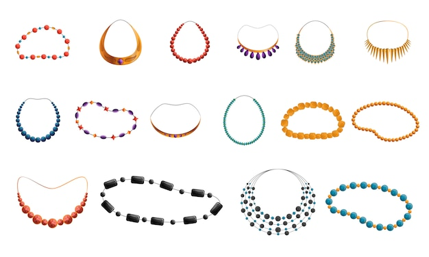 Necklace icon set
