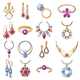 Necklace jewelry chain icons set