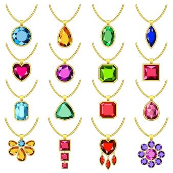 Necklace jewelry chain mockup set