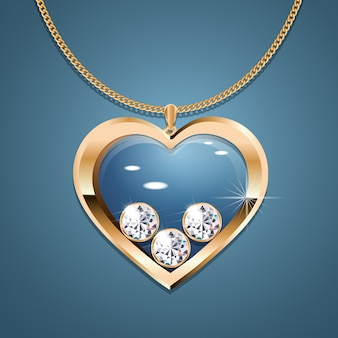 Necklace with heart pendant on a gold chain.