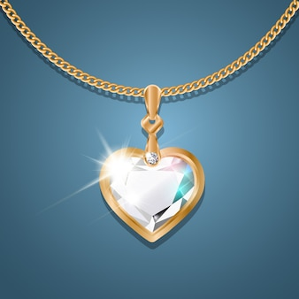 Necklace with pendant on a gold chain