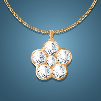 Necklace with pendant on a gold chain.