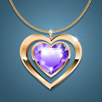 Necklace with a purple stone heart on a gold chain