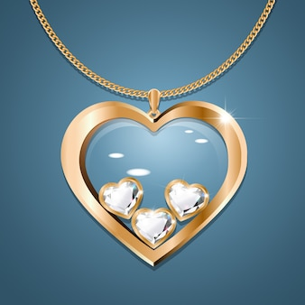 Necklace with three diamond hearts on a gold chain