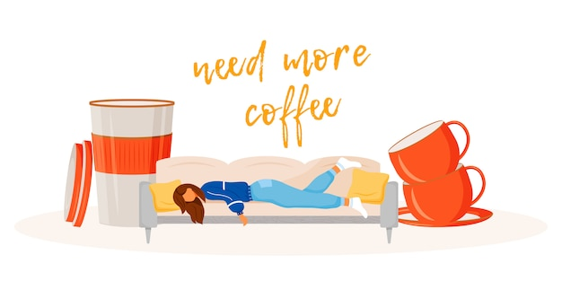 Need more coffee illustration