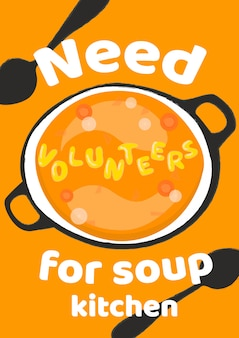 Need volunteers for soup kitchen vertical poster template.