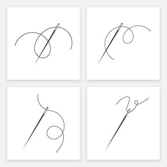 Значок силуэта иглы и нити набор векторной иллюстрации портной логотип с символом иглы и пышными формами