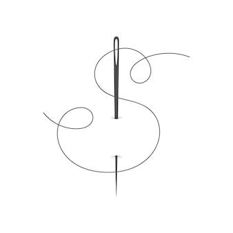 바늘 기호와 매력적인 바늘과 실 실루엣 아이콘 벡터 일러스트 재단사 로고