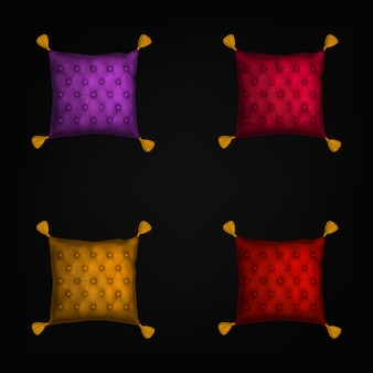 針パッドセット、黒に分離されたタッセル付きの枕を縫う
