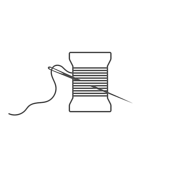 Needle and spool silhouette icon vector illustration black bobbin silhouette with outline needle and