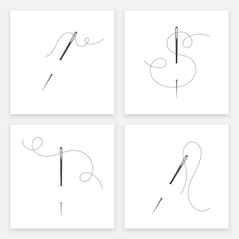 Needle and thread silhouette icon set vector illustration tailor logo with needle symbol and curvy