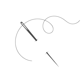 Needle and thread silhouette icon vector illustration tailor logo with needle symbol and curvy