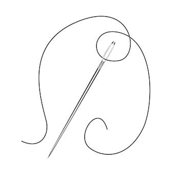 Игольчатый инструмент для шитья на изолированном белом фоне