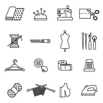 Needlework icons set