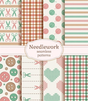 Needlework seamless patterns. vector set.
