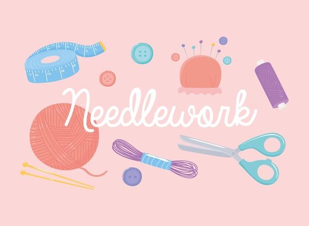 Инструменты для рукоделия, измерительные ленты, ножницы, мотки пряжи, кнопки и булавки, иллюстрация