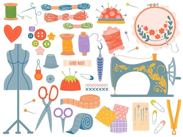 針仕事ツール。各種ミシン工具・消耗品、ミシン。ボタン、スプールとスレッド、針、はさみ。洋裁ベクトルセット。趣味や仕事のための毛糸、ダミー、指ぬき