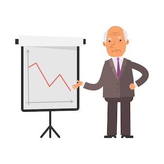 부정적인 비즈니스 그래프입니다. 오래 된 사업가 불쾌. 벡터 문자입니다. 벡터 일러스트 레이 션