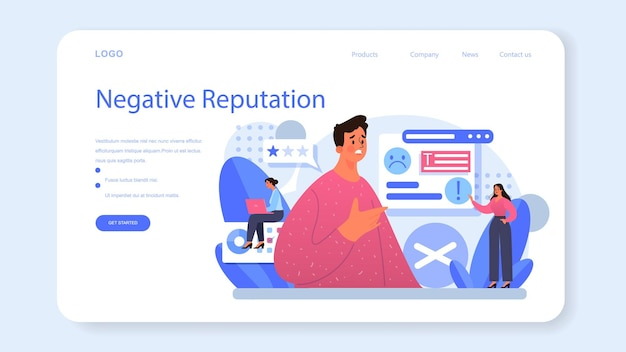 Negative campaigning web banner or landing page. brand negative reputation. bad customer review. elimination of competitors, black pr. isolated flat vector illustration