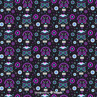 Negative effect on skulls of dia de muertos pattern