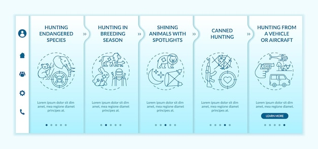 Negative effects of hunting onboarding template isolated illustrations