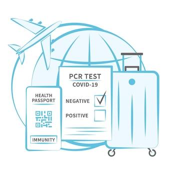 飛行機の旅行者のためのコロナウイルスデジタル免疫パスポートのネガティブpcrテスト