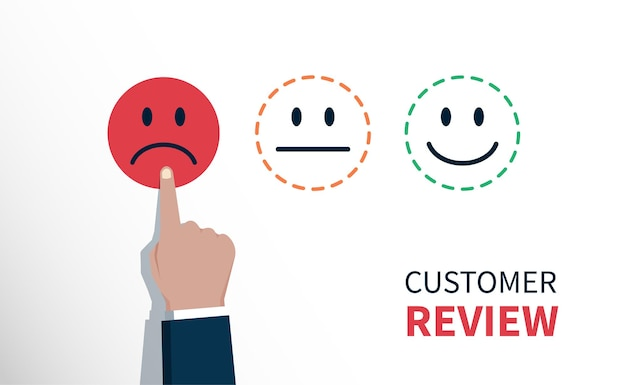 Negative review or feedback concept, hand of client chose sad face icon, customer service evaluation