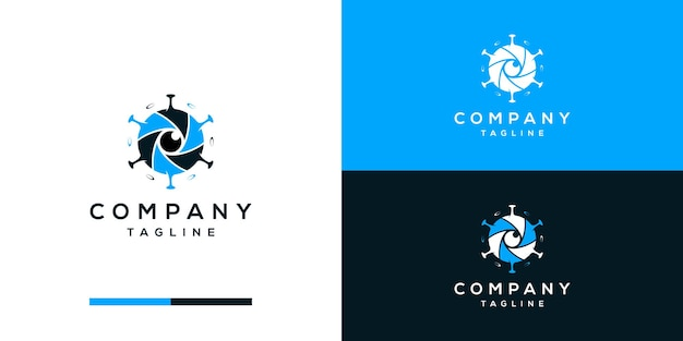 Negative space cameralens with virus logo design vector