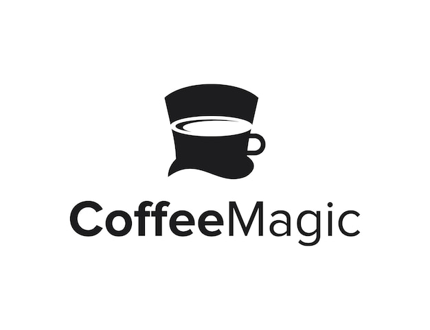 マジシャンハット付きネガティブスペースコーヒーカップシンプルでクリエイティブな幾何学的なモダンなロゴデザイン
