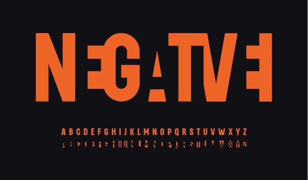 네거티브 스페이스 컷 문자 세트 이중 융합 글꼴 현대 높은 알파벳 현대 좁은