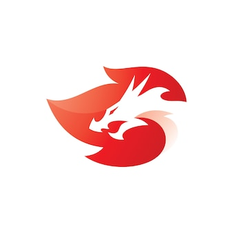 ネガティブスペースドラゴンヘッドとモダンなグラデーションスタイルの火炎ロゴベクトルアイコン