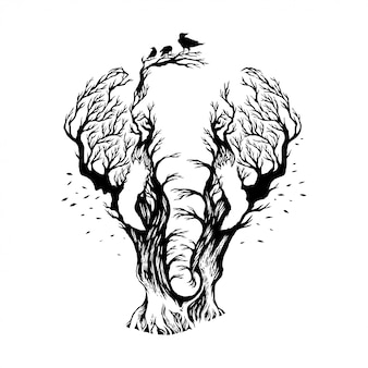 Negative space elephant with forest background