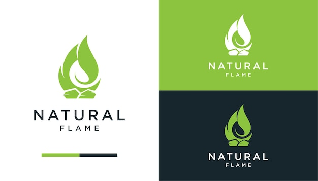 Negative space fire with leaf logo design template