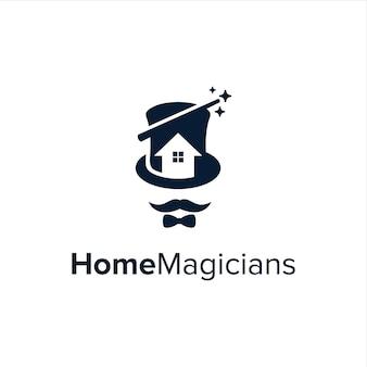 모자 마술사 넥타이 콧수염이있는 네거티브 스페이스 하우스 간단한 창조적 인 기하학적 현대 로고 디자인