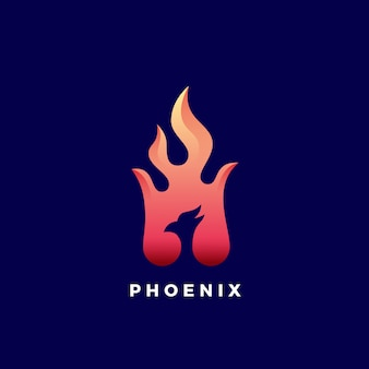 Negative space phoenix flame abstract  sign, symbol or logo template. vibrant color gradients.