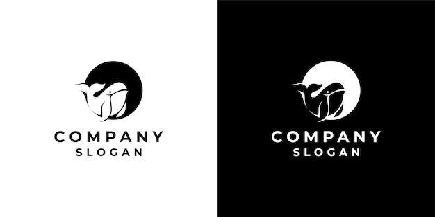 Негативный космический стиль кит дизайн логотипа