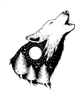 Negative space of a wolf with forest background
