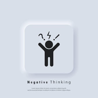 Negative thinking icon logo. bad experience feedback, unhappy client, difficult customer, poor service quality. angry and bad mood client, customer negative behavior.