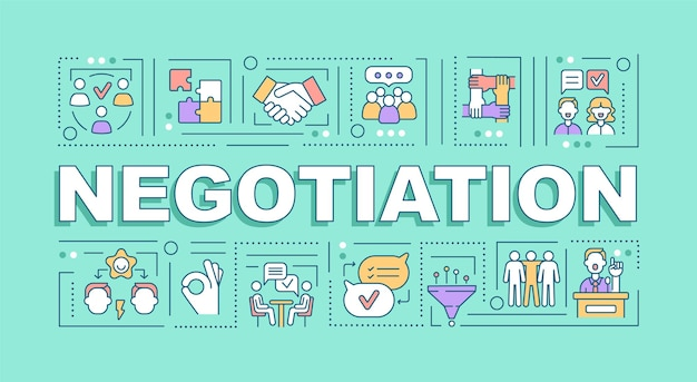 Negotiation word concepts banner. conflict management strategy. infographics with linear icons on turquoise background. isolated creative typography. vector outline color illustration with text