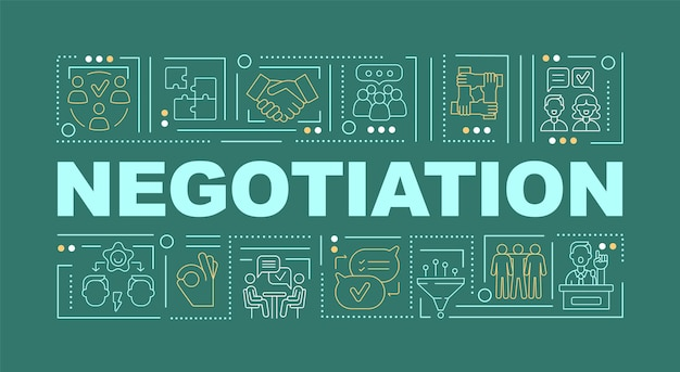 Negotiation word green concepts banner. conflict management strategy. infographics with linear icons on turquoise background. isolated creative typography. vector outline color illustration with text