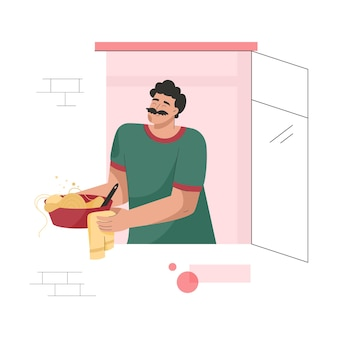 Neighbor in window concept man cooks food and holds plate