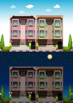 Quartiere di giorno e di notte