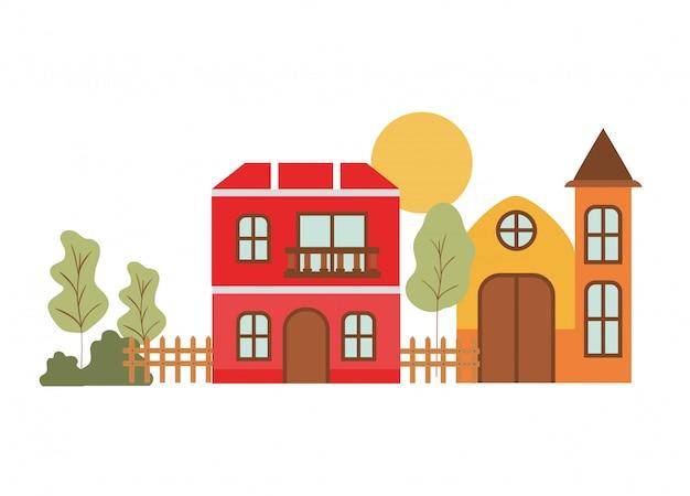Neighborhood houses in landscape
