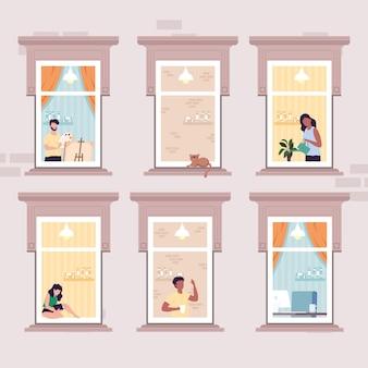 Neighborhood people in windows