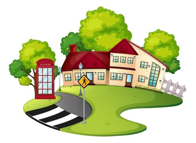 Сцена квартала с домом и дорогой