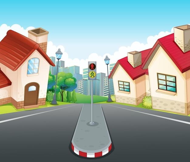 家と道路のある近所のシーン
