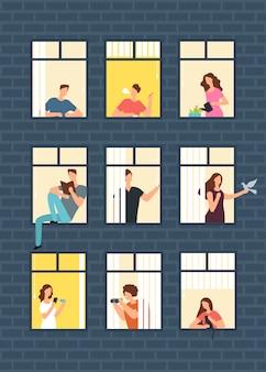 Neighbors cartoon people in apartment house windows